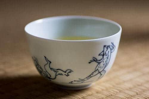 Comment vider sa tasse ? Tasse de thé, peinture de Kosangi, la grenouille et le lapin