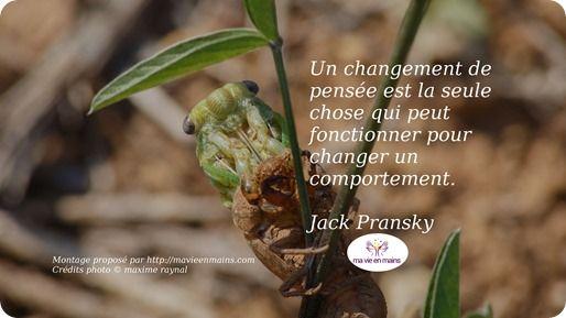 """Citation de Jack Pransky : """"Un changement de pensée est la seule chose qui peut fonctionner pour changer un comportement."""" Est-ce que vous êtes d'accord avec ça ?"""