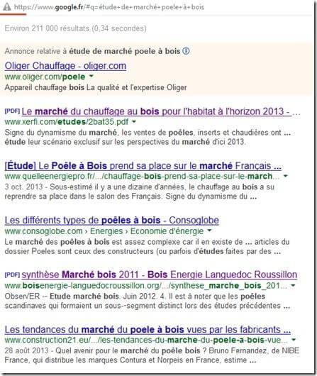 recherche google etude de marche