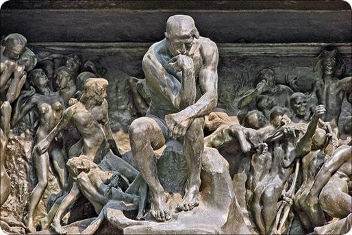 Enfer et paradis : Le penseur de la Porte de l'Enfer (musée Rodin)