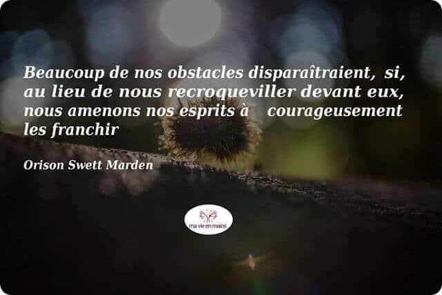 Citaion de Orison Swett Marden « Beaucoup de nos obstacles disparaîtraient, si, au lieu de nous recroqueviller devant eux, nous amenons nos esprits à courageusement les franchir »,